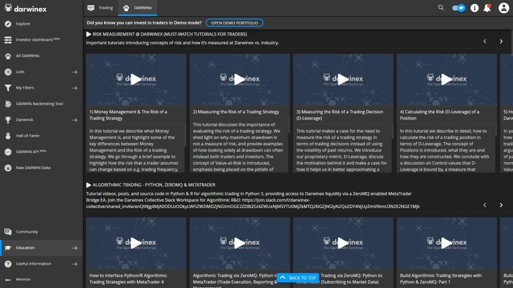 video tutorials on the darwinex website