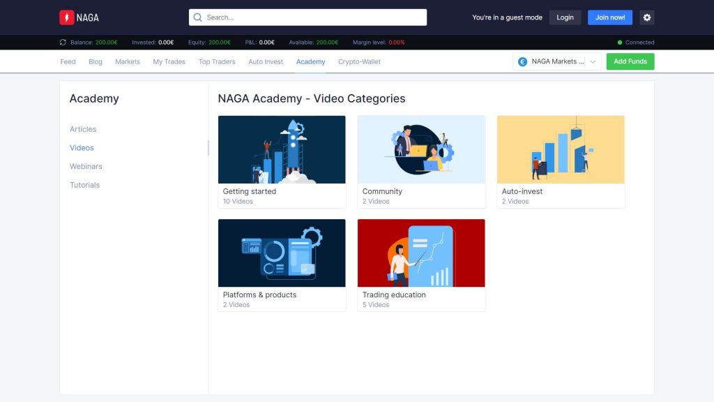 naga markets accademy videos webpage