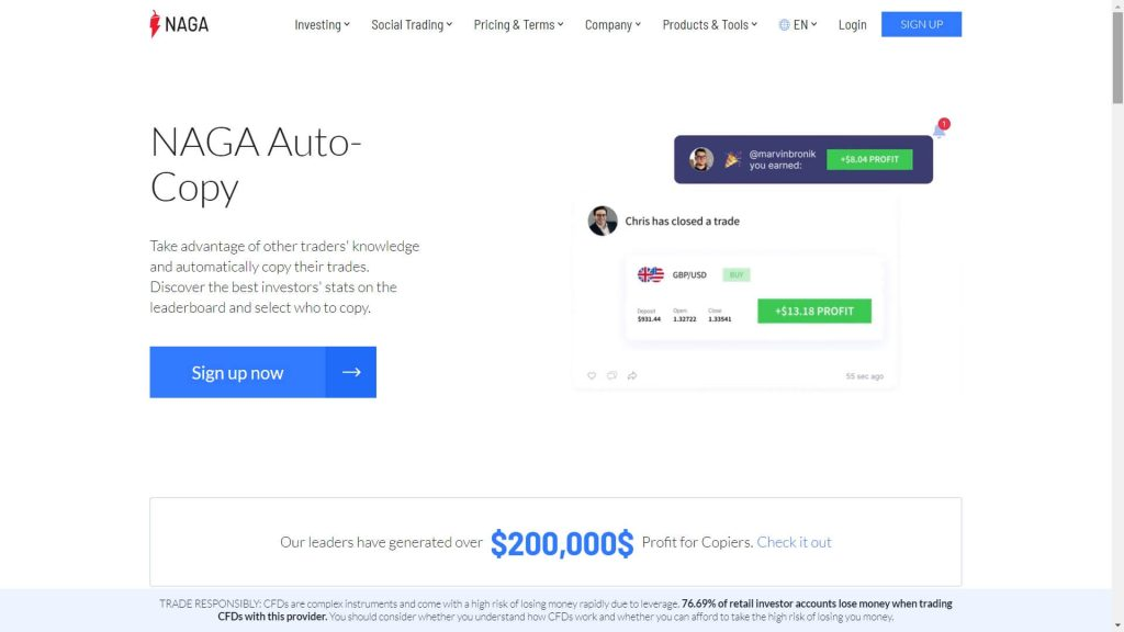 Naga Markets Auto Copy webpage