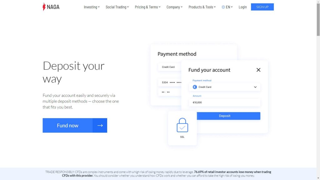 Naga markets deposit features webpage