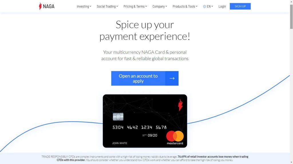 Naga Markets Naga Card webpage