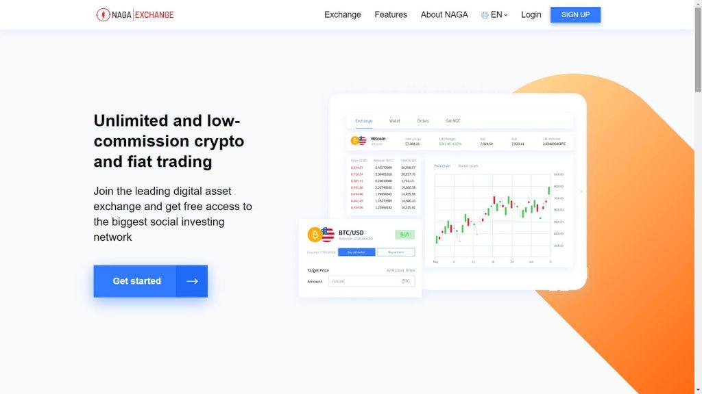 naga markets crypto exchange webpage