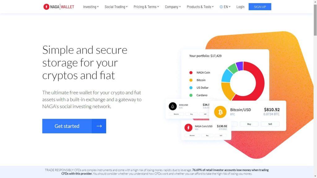 naga markets crypto wallet webpage
