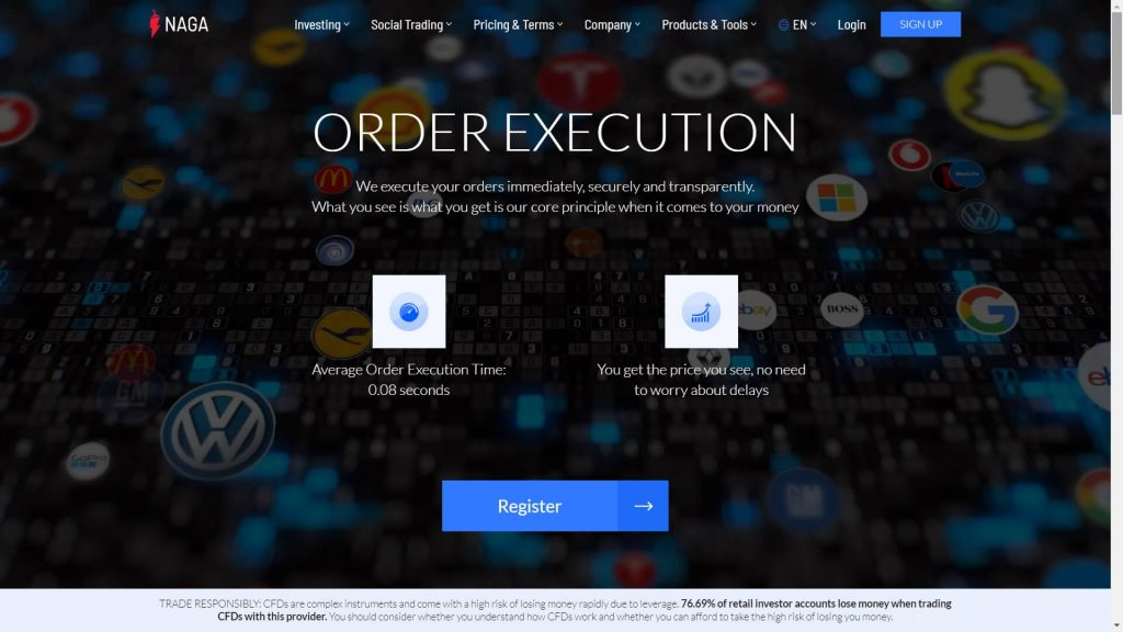 Naga markets webpage about their order execution