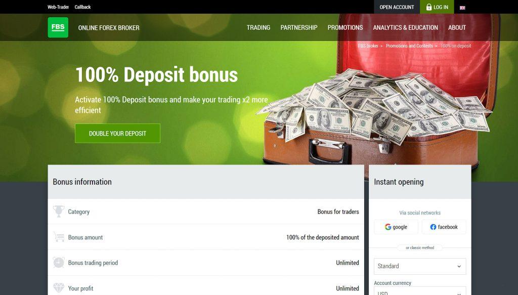 Double your FBS deposit with the 100% deposit bonus
