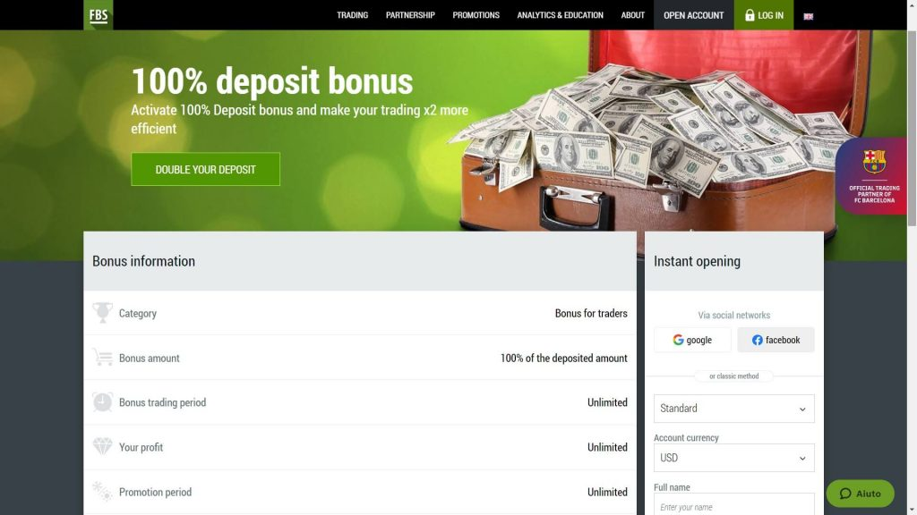 image of the fbs 100 deposit bonus