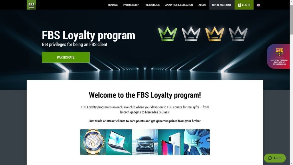 loyalty program features on the fbs website