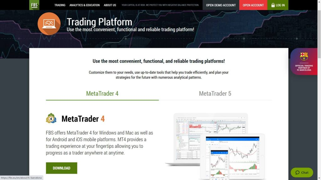 mt4 platform features on the fbs website