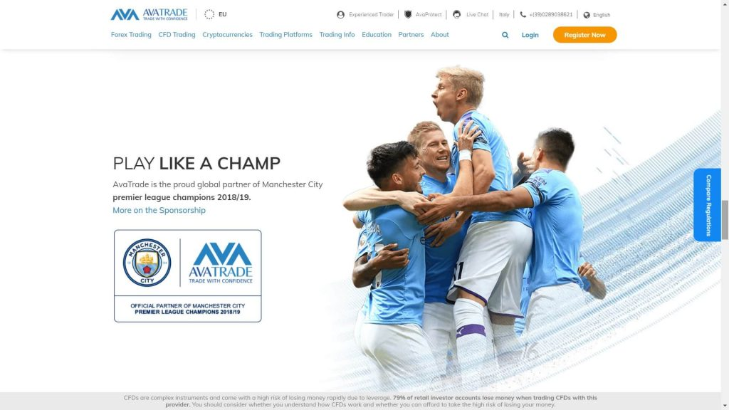 image of the partnership between avatrade and manchester city