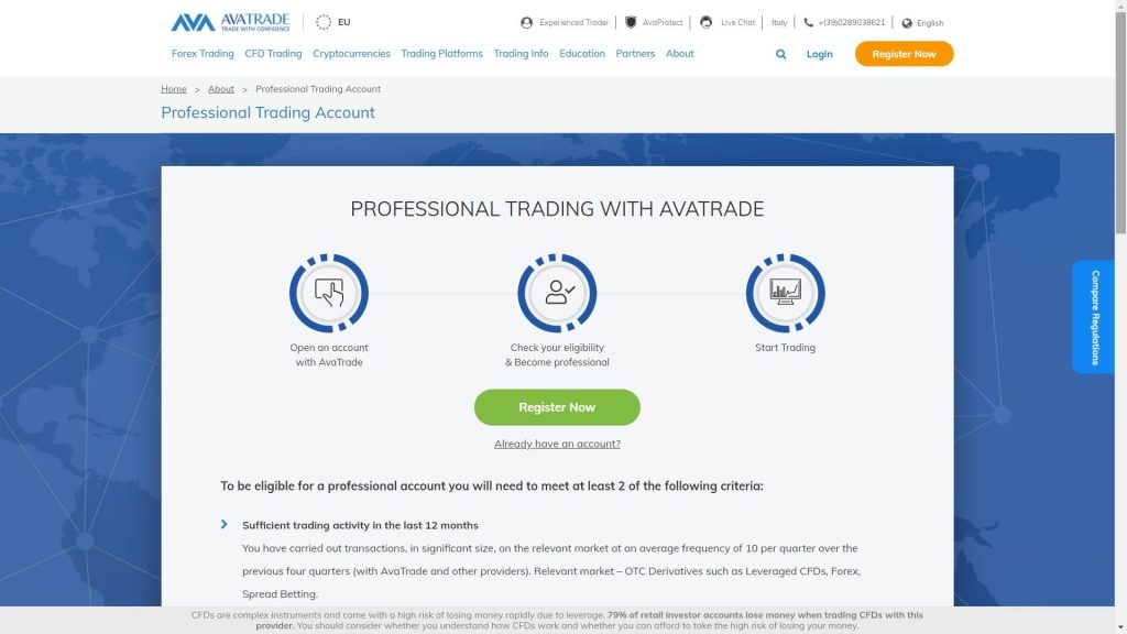 avatrade professional trader status image