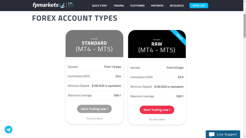 fp markets forex account types webpage