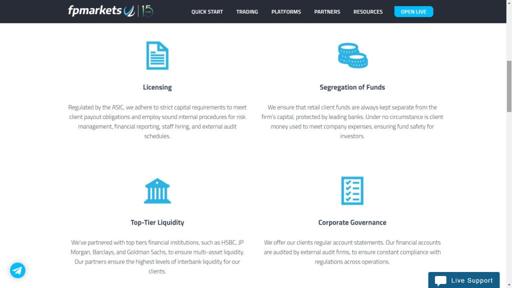 fp markets security features displayed on the website