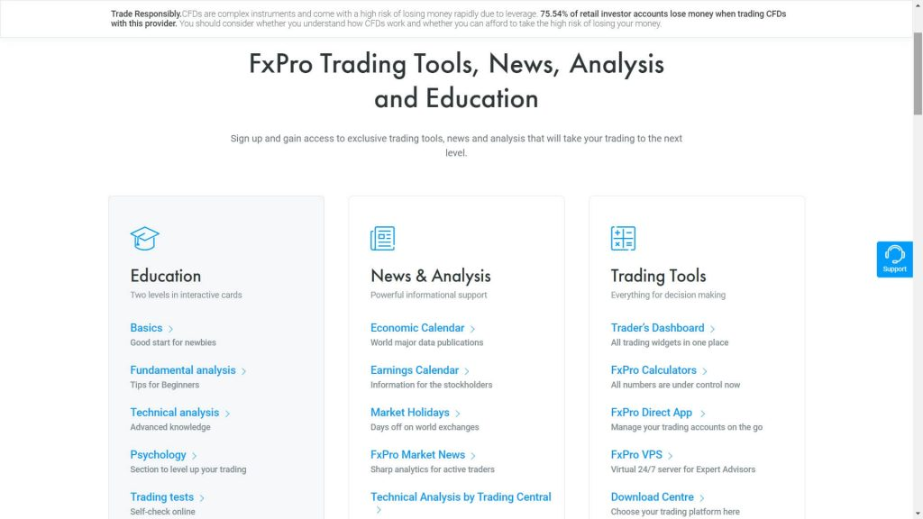 educational and research tools on the fxpro website
