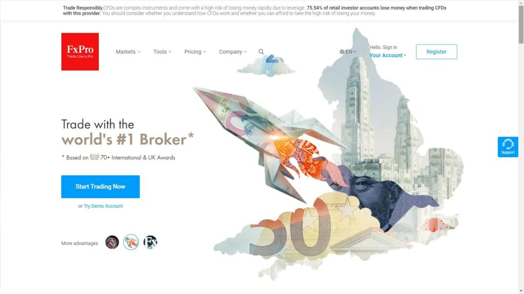 fxpro website homepage