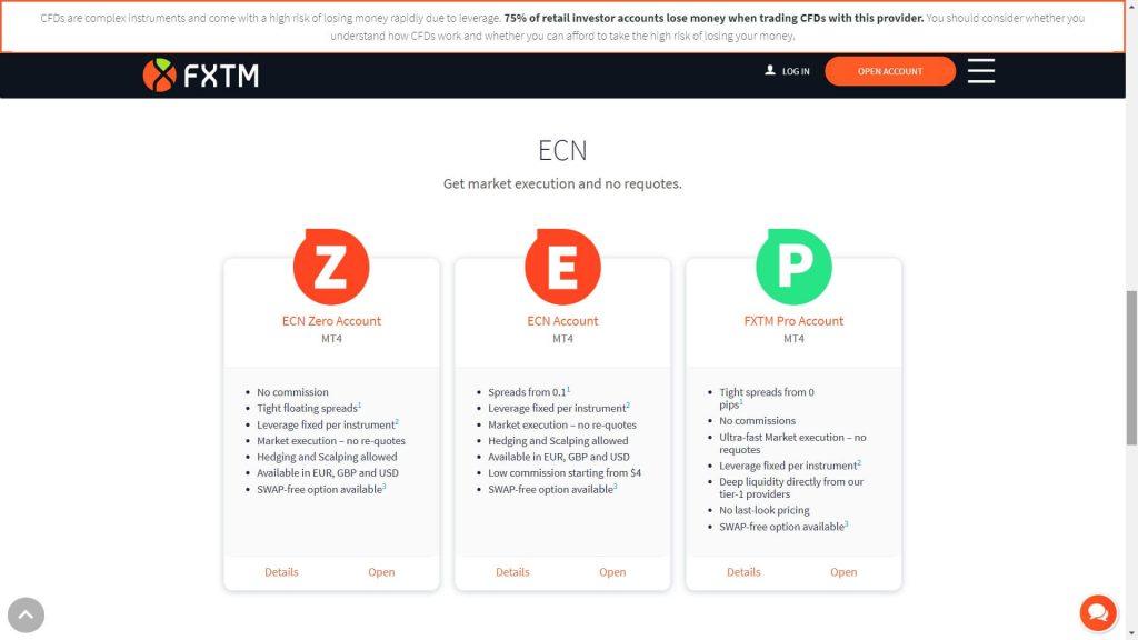 fxtm ecn accounts list