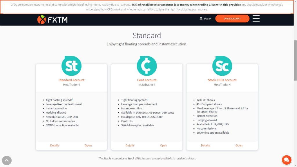 fxtm standard accounts list
