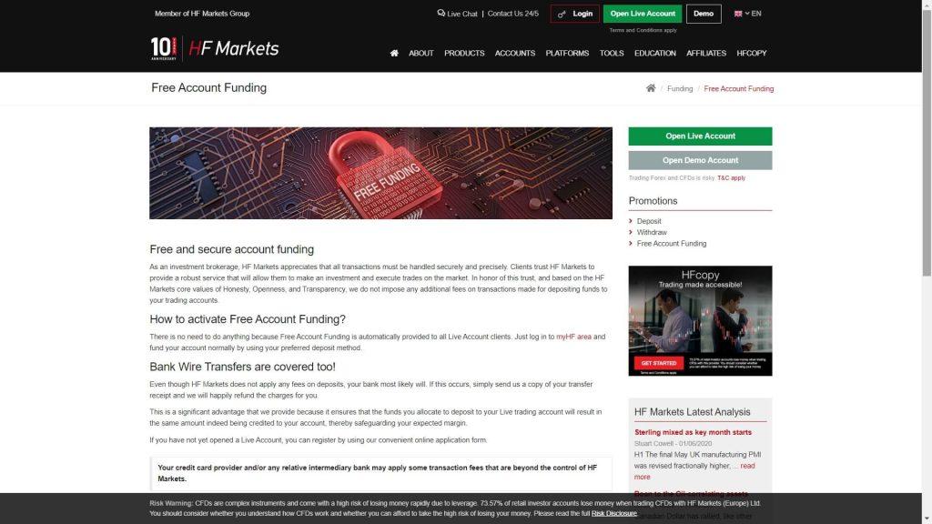 hotforex free account funding service