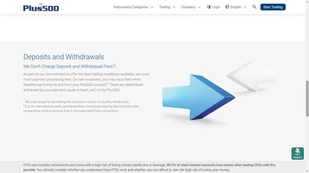 plus500 website screenshot deposit and withdrawal information