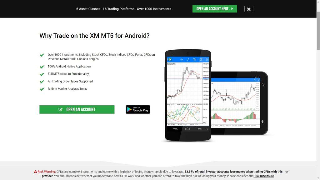 xm mt5 mobile platform features