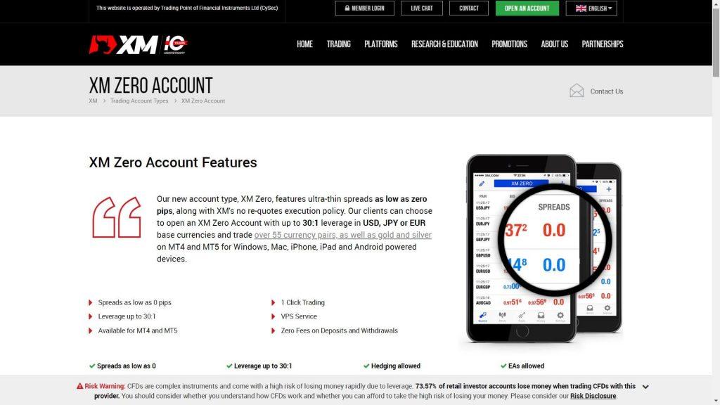 xm zero account features image