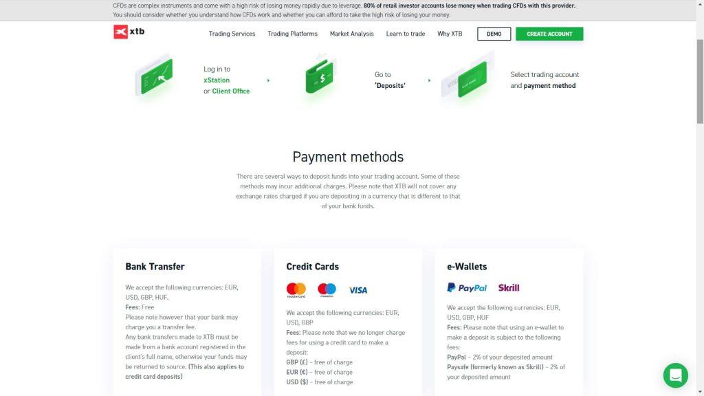xtb deposit methods webpage