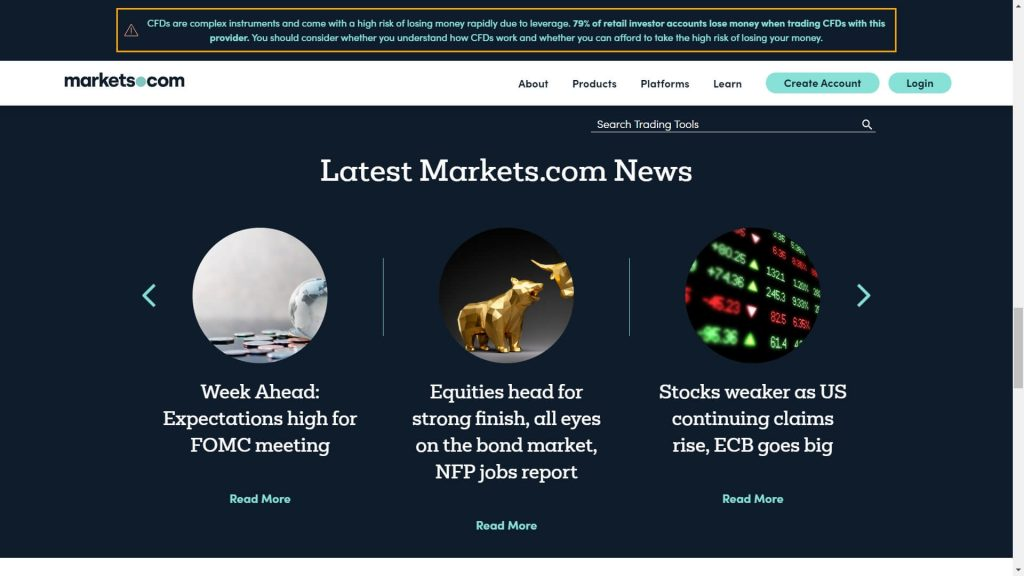 markets.com news webpage