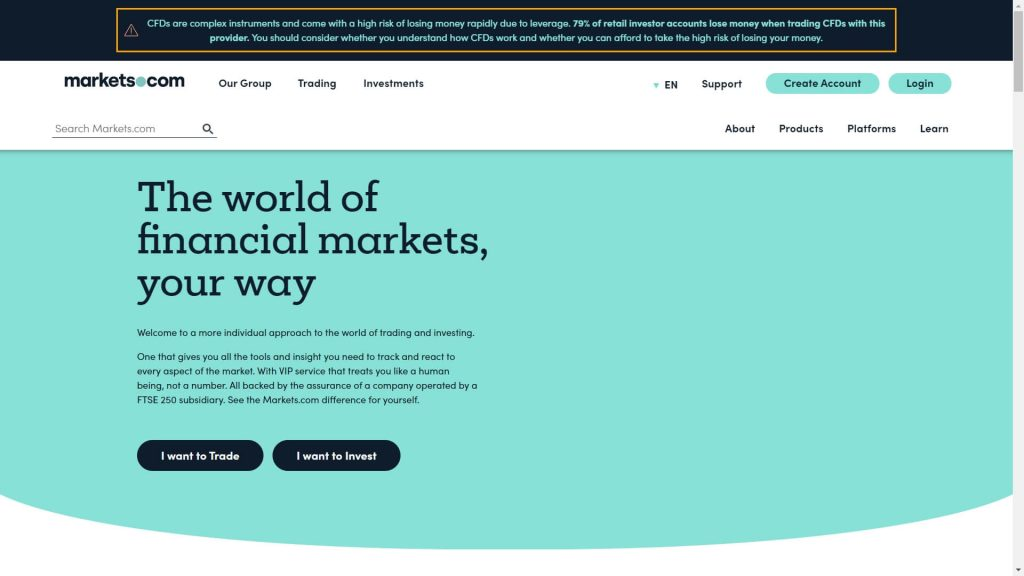 markets.com website homepage