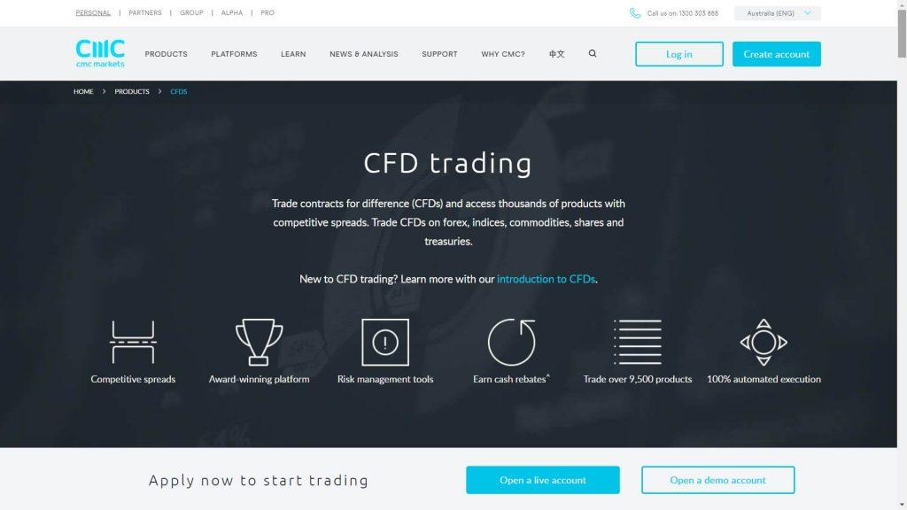 cmc markets cfd instrument webpage