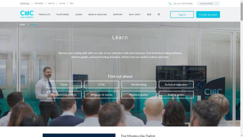cmc markets education webpage