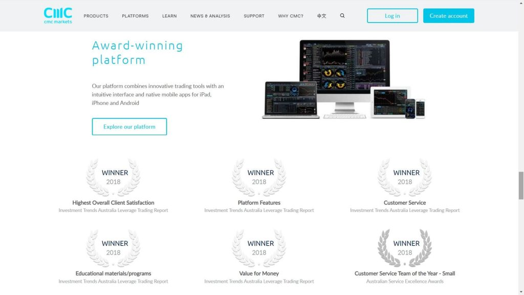 cmc markets platform awards webpage