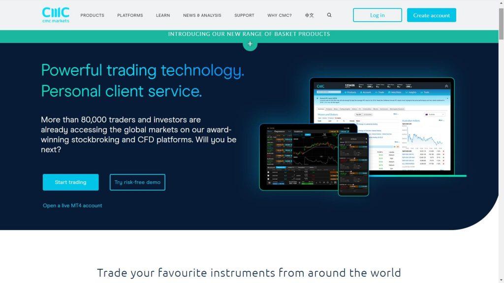 cmc markets website homepage