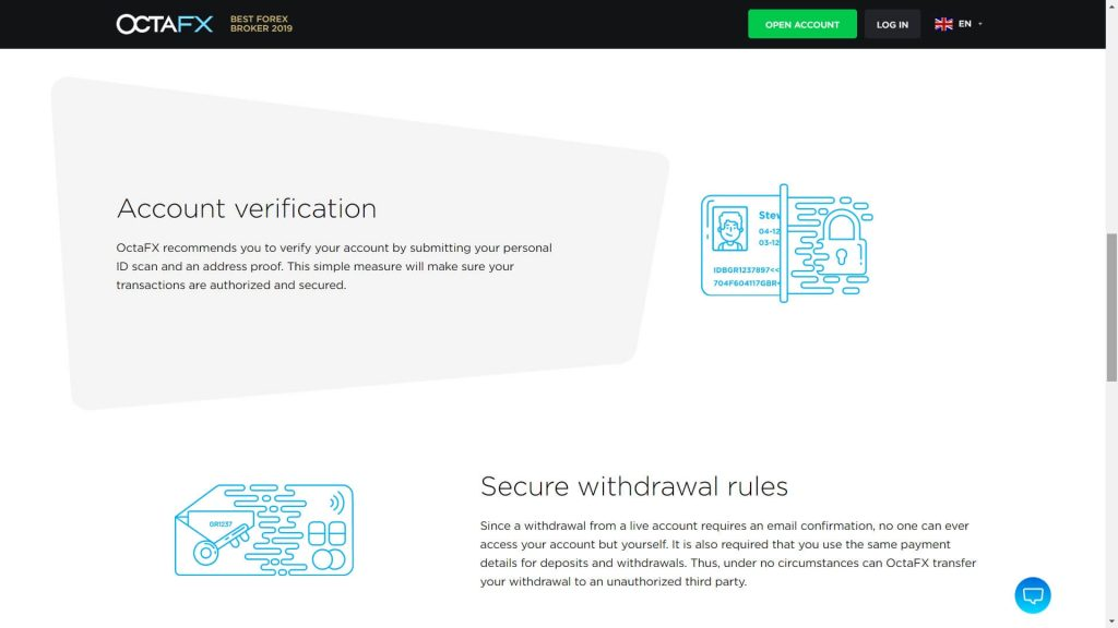 octafx account protection webpage