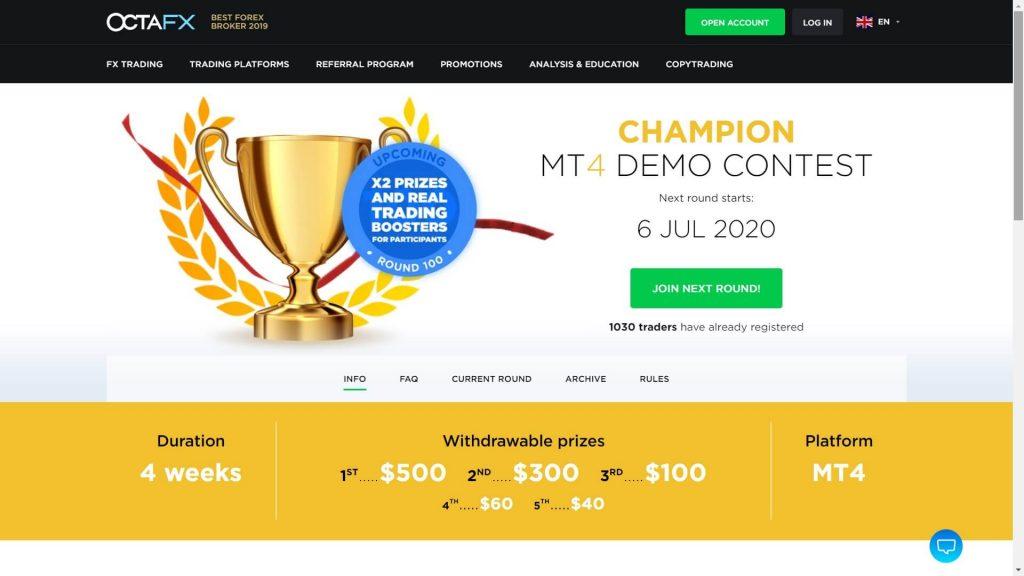 octafx mt4 demo contest webpage