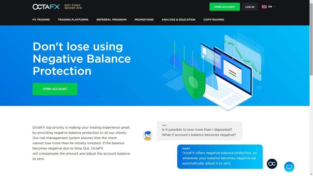 octafx negative balance protection webpage