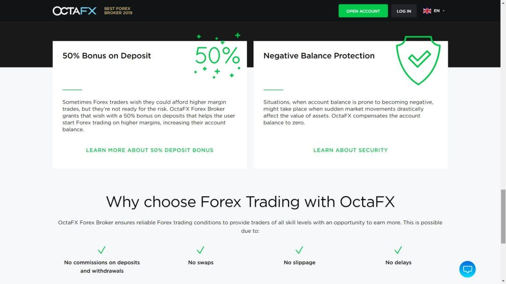 octafx trading features webpage