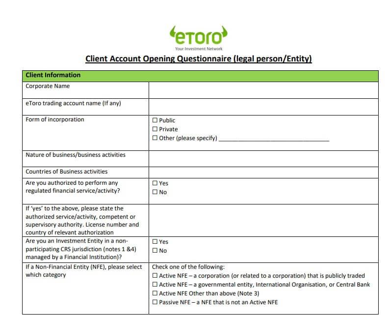 Etoro Questionnaire