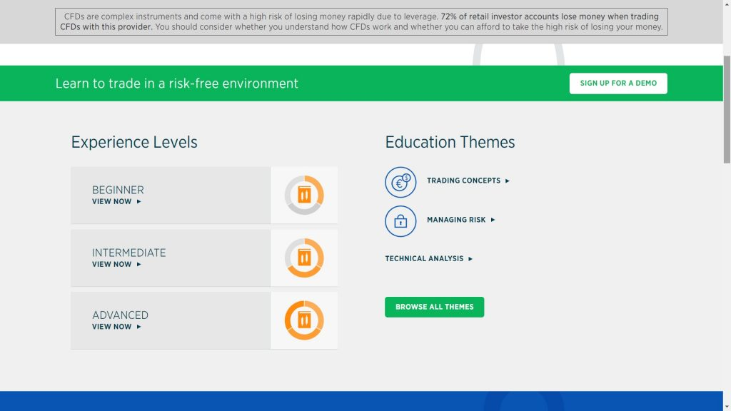 education section on the forex.com website