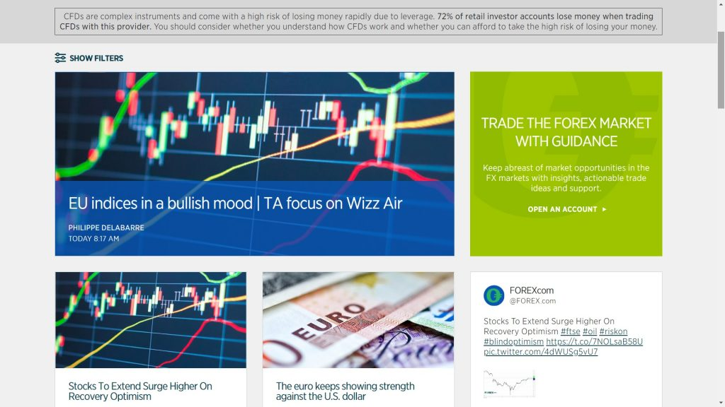 research section on the forex.com website