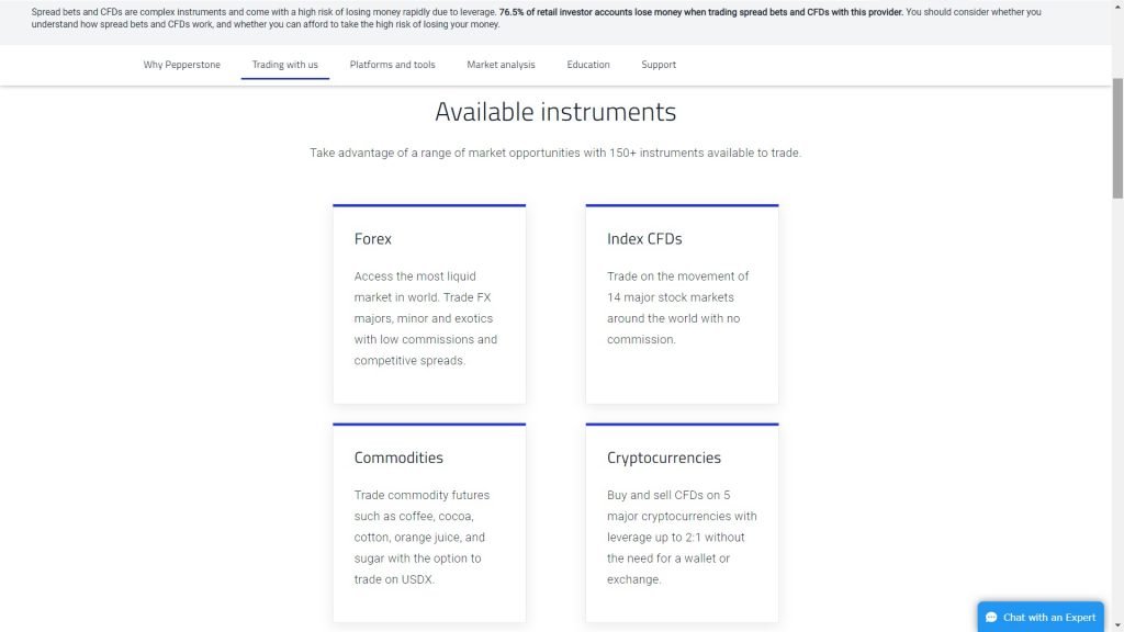 available instruments on pepperstone