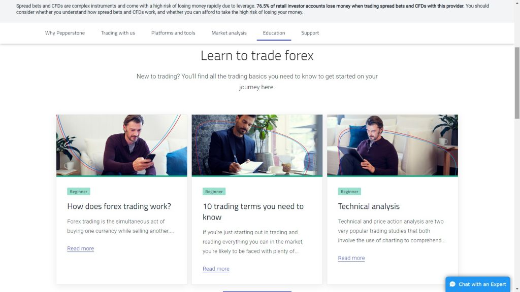 pepperstone forex education section