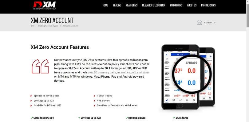 xm zero account website