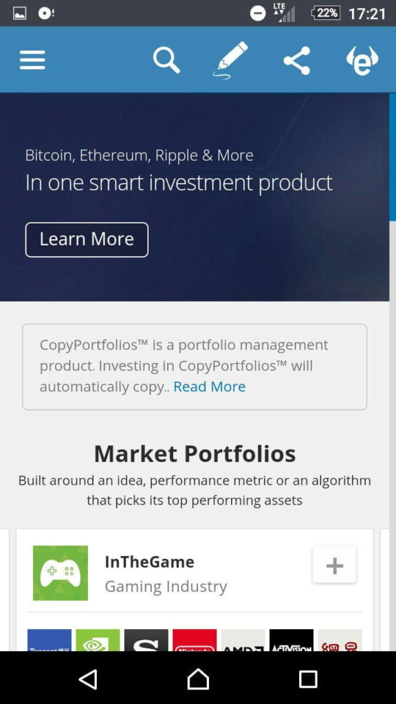etoro mobile platform copyportfolios