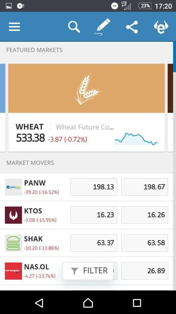 etoro mobile platform markets section