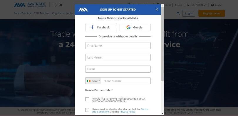 AvaTrade sign-up form