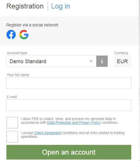 FBS demo account form