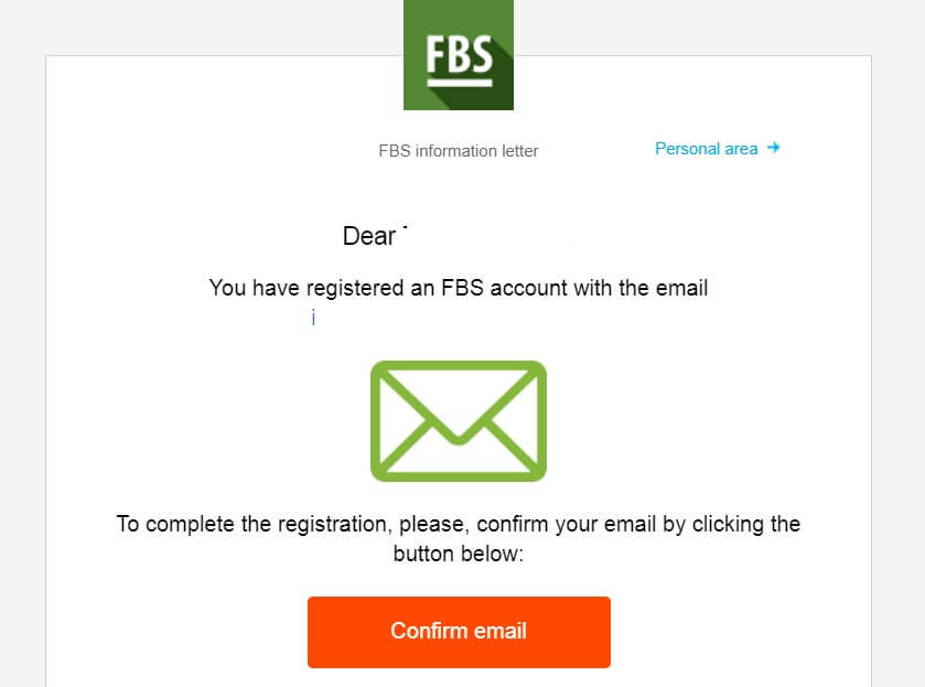 FBS live account confirm email