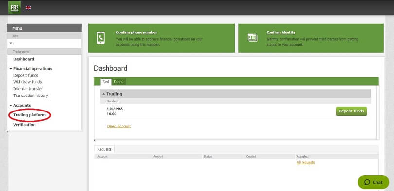 FBS live account dashboard platform