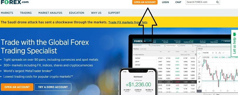 forex.com live account button