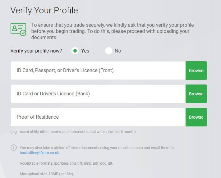 fxpro verify your profile