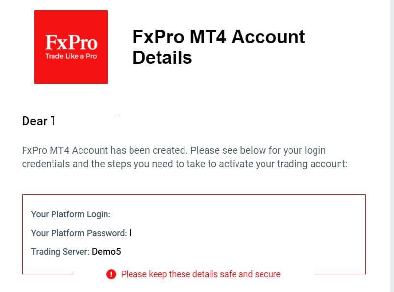 FxPro account details